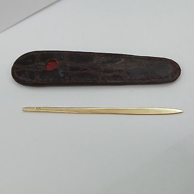 14K Solid Yellow Gold Victorian Toothpick Snuff Stick in Leather Case