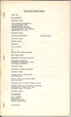 * THE MAN ON THE FLYING TRAPEZE (1935) Continuity Script W.C. Fields Comedy