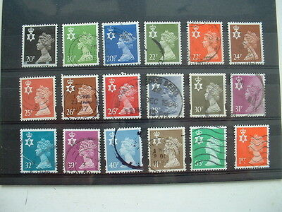 COLLECTION OF 18 x QE2 GB STAMPS NORTHERN IRELAND MACHINS HIGHER VALUES USED