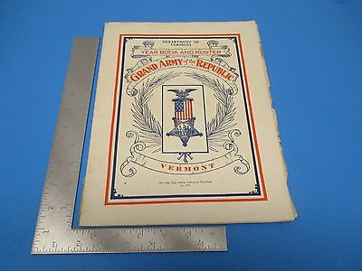 Dept of Vermont Official 1928 Yearbook & Roster Grand Army of the Republic L217