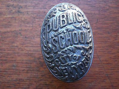 Antique Nickel-Plated Public School City of New York Doorknob Door Knob c1890