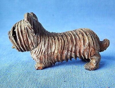 VINTAGE SKYE TERRIER Hand Carved Wood Dog Likely Made By Anri Italy