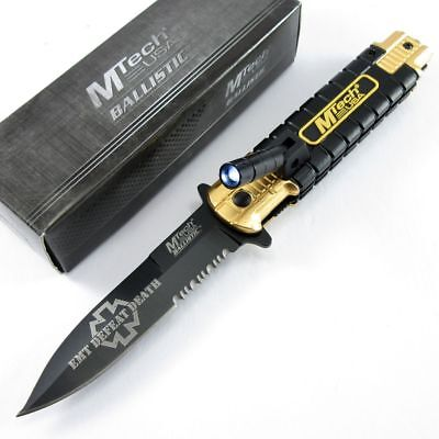 SPRING-ASSIST FOLDING POCKET KNIFE Black Serrated Stiletto LED EMT Paramedic EDC