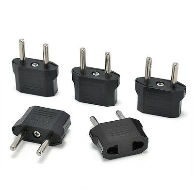 5PCS Black US/AU to European EU Travel Charger Adapter Plug Outlet Converter