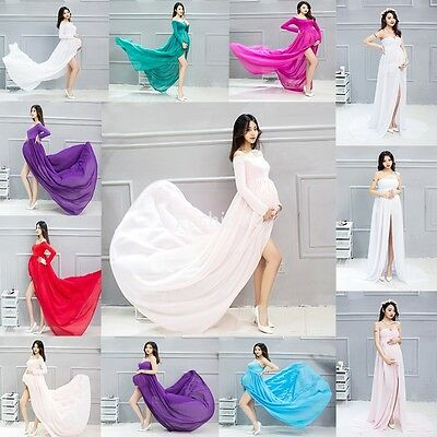 Mixed Chiffon Maternity Photography Props Long Pregnancy Dress Pregnant Clothes