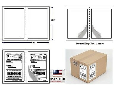 "600 Quality Round Corner Shipping Labels 2 Per Sheet 8.5"" x 5.5"""