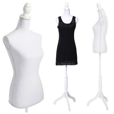 New Female Mannequin Torso Model Clothing White Display W/ White Tripod Stand