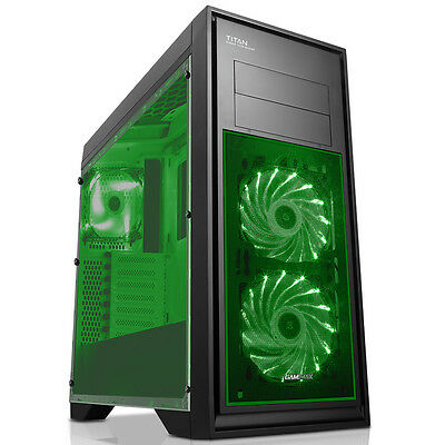 Game Max Titan Mid Tower PC Gaming Case Window 2 X Fans USB3 BLACK / GREEN LED