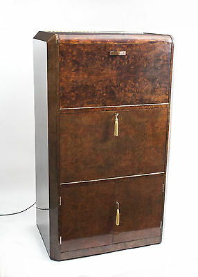 Antique Art Deco Burr Walnut  Cocktail Cabinet c.1930