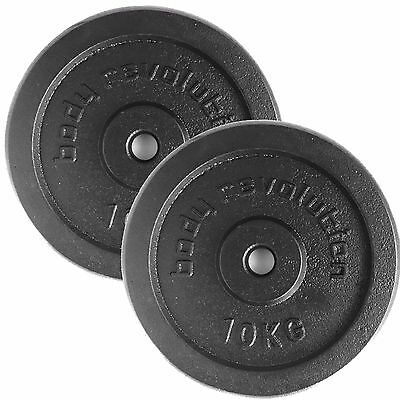 """10kg Pair Cast Iron Weight Plates Barbell 1"""" Dumbbell Weights Home Gym Fitness"""