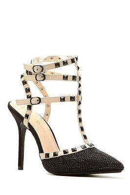 78a62a5fb0f6 Black Beige T-Strap Studded Pointy Toe Classic High Stiletto Heel Pump Wild  Diva