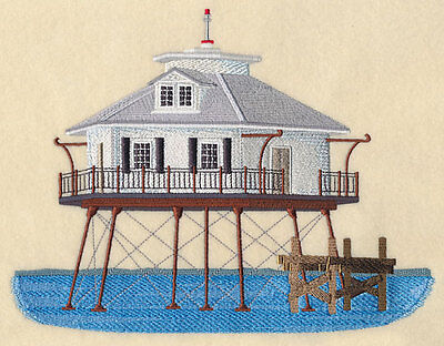 SHIP JOHN SHOAL LIGHTHOUSE NEW JERSEY RARE FIND TOWELS EMBROIDERED BY LAURA