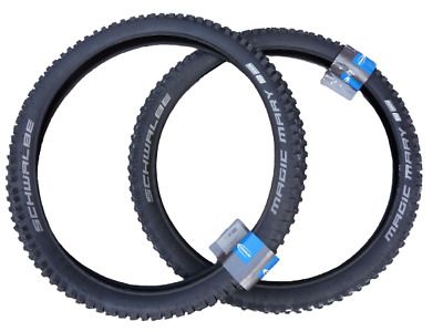 "Pair Schwalbe MAGIC MARY 26x2.35"" Addix Downhill DH MTB Tyres Wide Knobbly Tread"