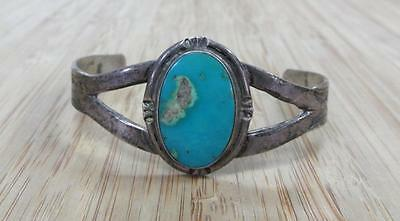 Turquoise Accented Sterling Silver Vintage Cuff Bracelet ~ 16.2grams 10-H5837
