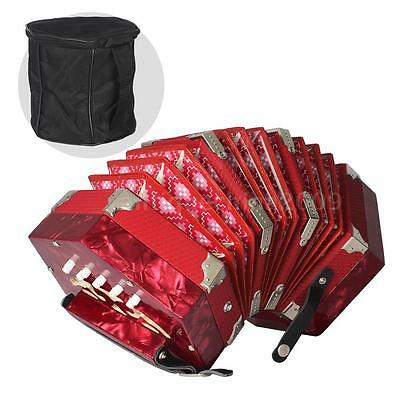 Concertina Accordion 20-Button 40-Reed Anglo Style Adjustable Hand Straps U6R9