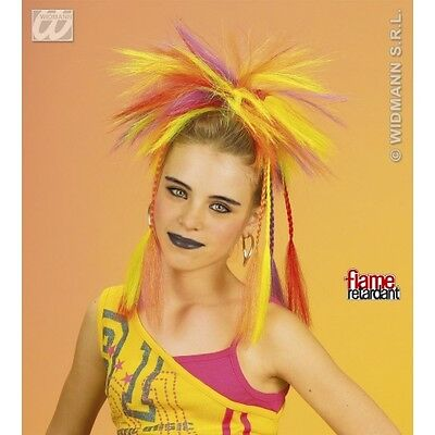 Neon Multicolour Plaits with Comb Wig for 70s 80s Punk Fancy Dress Accessory