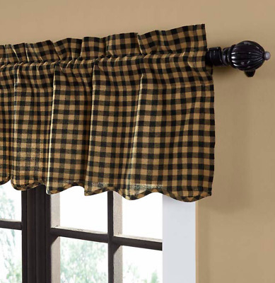 BLACK CHECK 16x72 VALANCE : VHC PRIMITIVE SCALLOPED BROWN PLAID COUNTRY WINDOW