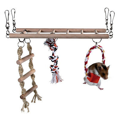 Trixie Hamster, Mouse, Gerbil, Cage Hanging Suspension Bridge, Ladder, Toy, 6274
