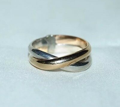 925 Sterling Silver 14k Yellow Gold Intertwined Custom Ring Wedding Band Size 7