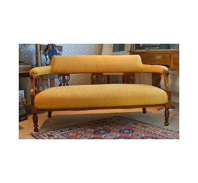 Original Antique 19th Century Carved Walnut Sofa with Horsehair & Turned Legs