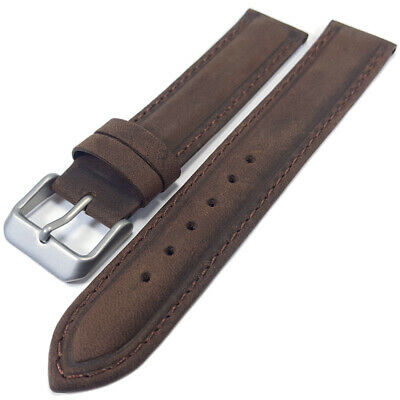 Brown Genuine Suede Leather Watch Strap Band 16mm 18mm 20mm