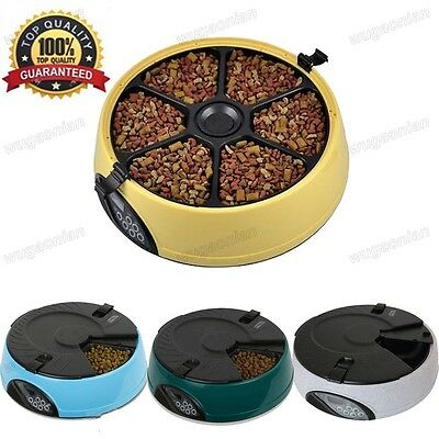 New 6 Meal/day Automatic Pet Feeder Dog Cat Food Auto Dispenser puppy Bowl LCD