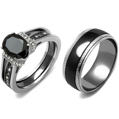 3 PCS Couple Hers Black Oval CZ Stainless Steel 2 Rings Set/Mens Matching Band