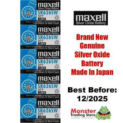 5 Pcs Maxell Sr626Sw 377 1.55V Silver Oxide Battery Made In Japan For Watch New