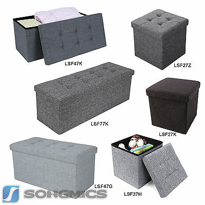 Linen Storage Ottoman Foldaway Pouffe window Seat Stool Chest Toy Box Bench
