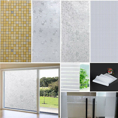 New Static Frosted Privacy Home Bathroom Window Self Adhesive Glass Film Sticker