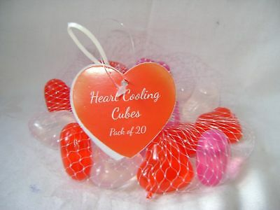 New 20 Heart Shaped Reusable Ice Cubes Pink White Red Cooling Blocks In Net Sil