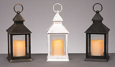 LED Garden Lantern Light With Flickering Amber Flame Candle Patio Lighting 24cm