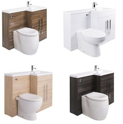 Bathroom Vanity Unit Designer Furniture Suite Back to Wall WC Toilet, Basin Sink