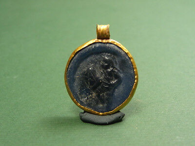 Ancient Gold & Glass Pendant Gladiator Image Roman 100-300 Ad • CAD $751.27