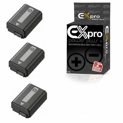 3 x Ex-Pro Replacement Battery NP-FW50 NPFW50 Sony Alpha & SLT Digital Cameras