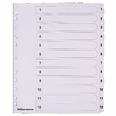 Office Depot Mylar Dividers White Board A4 Extra Wide 12 Part 1 12 Numbered Set