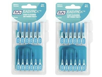 TePe Easy Pick M/L, Blue - 2 Packs of 36 Brushes & Travel Case - Best Price