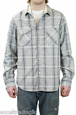 7a95ba07bae STEVEN ALAN Gray Plaid Vintage Workshirt Button Down Shirt F10-MST28FL NWT   198