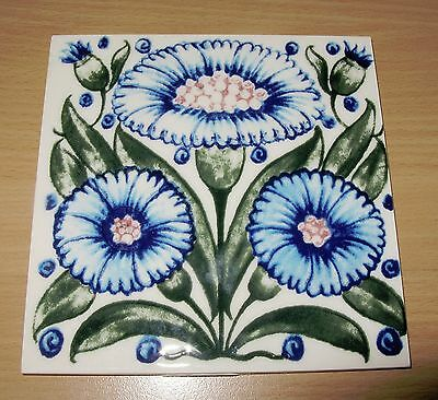 Vintage Made In England Ceramic Glossy Tile Blue Flowers Art Nouveau Arts Crafts