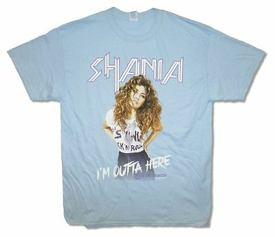 Shania Twain I'm Outta Here Rock This Country Tour Adult Blue T Shirt NEW