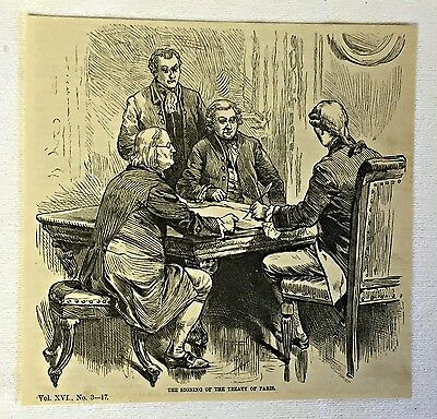 1883 magazine engraving ~ SIGNING OF THE TREATY OF PARIS