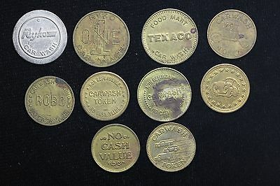 10 Different Brass Car Wash Tokens All Sizes