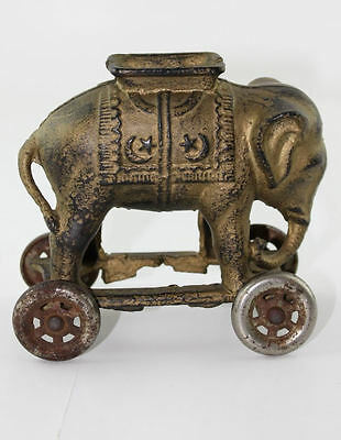 Antique Figural Bank Cast Iron Elephant on Wheels