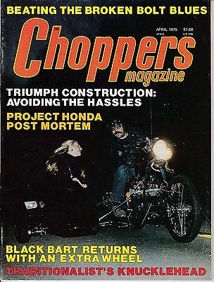 Choppers Magazine Motorcycle Magazine APRIL 1975 APR