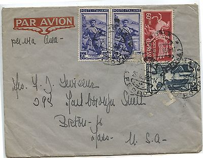 Old 1950 Italy to USA Postal Cover Airmail Stamps
