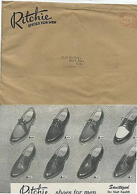 Old 1956 Ritchie Shoes for Men Advertising Packet Envelope Letters Etc