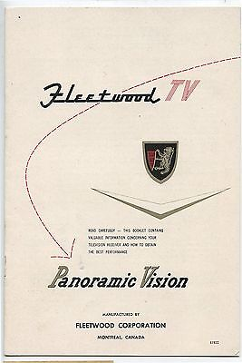 Old Vintage Fleetwood TV Panoramic Vision Booklet Brochure