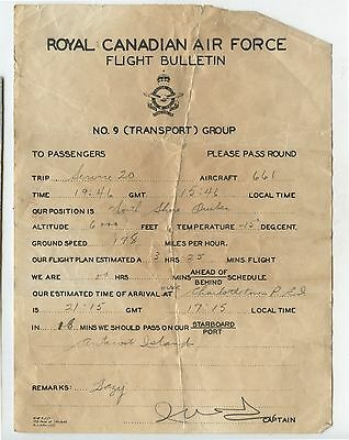 Old Royal Canadian Air Force Flight Bulletin No.9 Transport Group