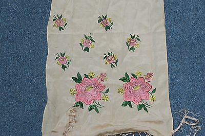 """Vintage Hand Embroidered Canton Piano Scarf Shawl 13"""" x 60"""" plus Macrame fringes"""