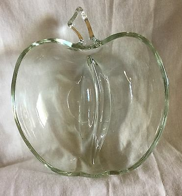 Adorable Clear Glass Divided Candy Relish Dish Apple Shaped